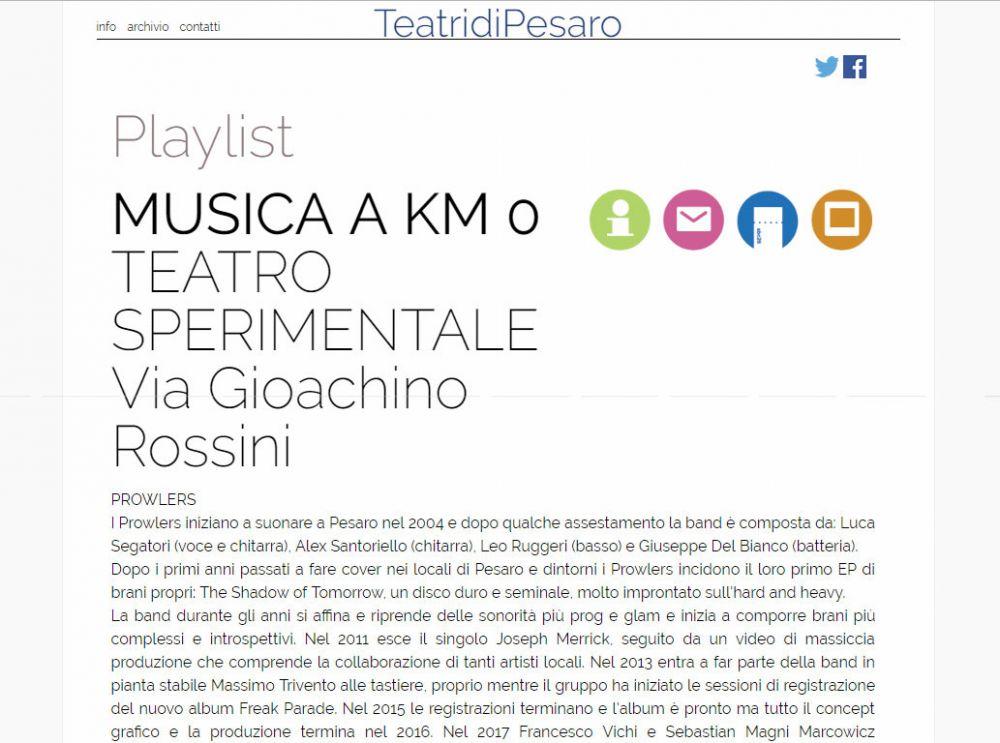Teatri di Pesaro: Concerto Teatro Sperimentale 20 Aprile 2018