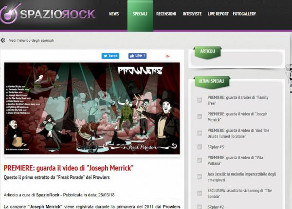 Spaziorock.it: Premiere Video Joseph Merrick